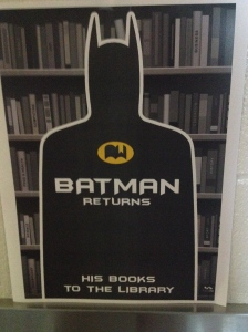 """Batman returns… his books to the library."" This is too funny."